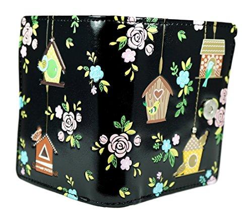 Shagwear portafoglio per giovani donne Small Purse : Diversi colori e design: Rifugio degli uccellini nero / Birdie Retreat