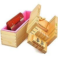 RoseFlower 3 Stück DIY Seifen Silikonform Set, 10.71'' Praktische Verstellbar Holz Seifenschneider Handgefertigt Seife DIY Werkzeug + 1,2 kg rechteckige Silikon Seife Form mit Holzkasten