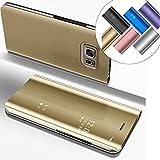 LEMAXELERS Galaxy S6 Edge Plus Hülle Luxus Spiegel Mirror Makeup Plating PU Flip Tasche Ledertasche Schutzhülle Handyhülle mit Ständer-Funktion Hülle Etui für Galaxy S6 Edge Plus,Mirror PU:Gold