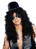 Franco Americana novedad 24635-01 Curly Rocker Deluxe Peluca - Negro