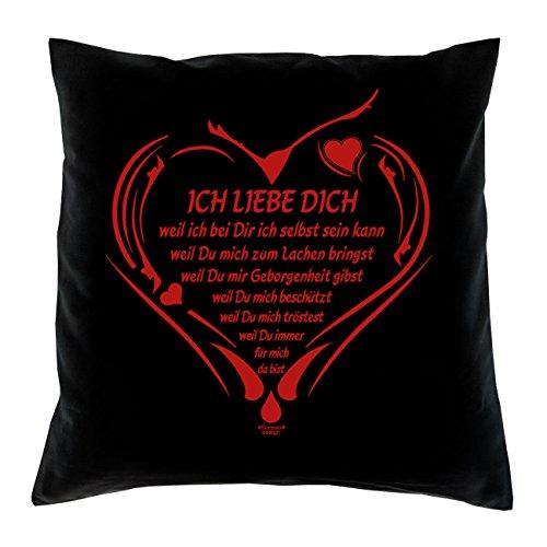 Ich liebe Dich: Kissen inkl. Füllung : 40×40 :: Geschenk für Verliebte zum Valentinstag Valentinstagsgeschenk Männer Frauen Farbe:schwarz