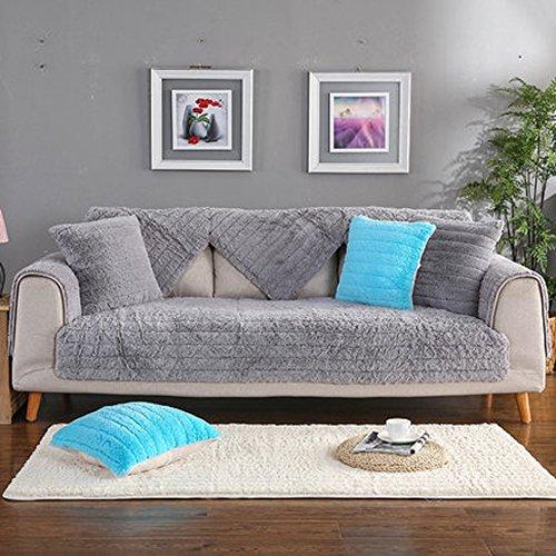 J&DSU Sofabezug Samt Sectional Sofa Rutschfeste Multi-Size Couchbezug Wohnzimmer,1 stück,Maschine Waschbar-Grau-A 90x240cm(35x94inch) (Seide Samt Decke)