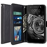 LG X Power 2 Hülle, LK Luxus PU Leder Brieftasche Flip Case Cover Schütz Hülle Abdeckung Ledertasche für LG X Power 2 (Schwarz)