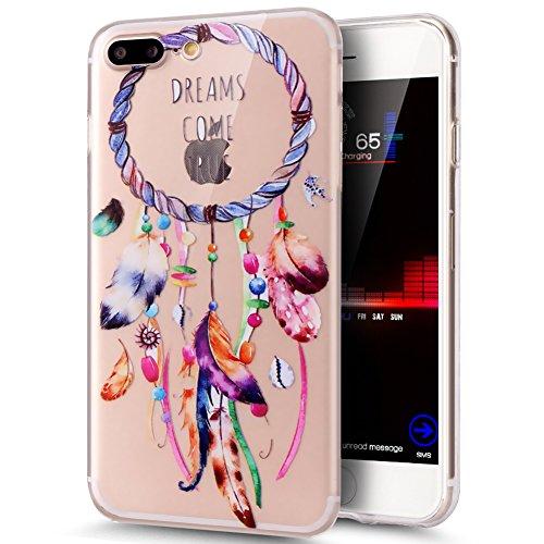 iPhone 8 Plus Hülle,iPhone 7 Plus Hülle,ikasus Durchsichtig mit Bunte Kunst Gemalt Muster Kristallklar TPU Silikon Handy Hülle Case Tasche Schutzhülle für iPhone 8 Plus/7 Plus,Feder Campanula