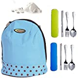 JERN Insulated Tiffin Pouch With Hard Case Spoons, Forks, Chop Sticks And Tablet Tissue Papers (2 Set Of Cuttlery)