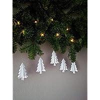 """5er-Set Papierornamente""""Tannenbaum"""" aus wahlweise schwarzem odem weißem Papier/Christbaumschmuck//Fensterdeko//Weihnachtsbaum//Christbaumkugel"""