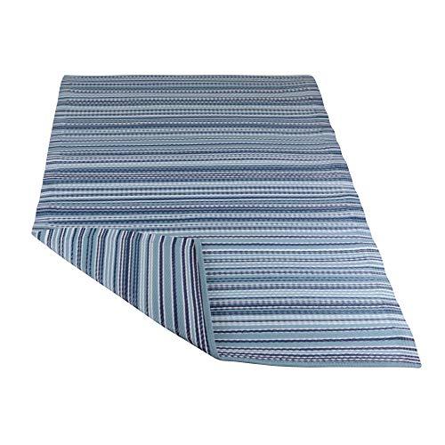 RM Design In- & Outdoor Teppich für Terrasse/Balkon Blau Gestreift Muster 90 x 180 cm - Blauer Teppich Outdoor Teppiche