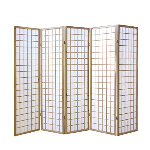 Homestyle4u 76, Paravent Raumteiler 5 teilig, Holz Natur, Reispapier Weiß, Höhe 175 cm -