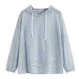 Selou Damen Langarm-Streifen-Patchwork-O-Ausschnitt Sweatshirt Lässiges Kapuzen-Bluse Bedruckte Damen Sweatshirt Günstige Sweatshirts für Damen Rollkragenpullover gestrickt SAMT Pullover
