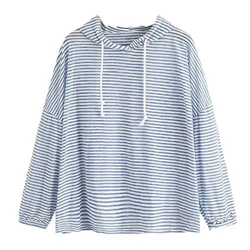Modaworld Bluse Damen Lange Ärmel Hoodie Frauen Kapuzenpullover Pullover mit Kapuze Cross Over Kragen Gestreiftes Gesicht drucken Top (M, Blau)