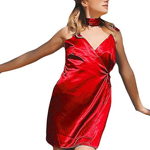 LILIHOT Reizvolle Farbe der Art- und Weisefrauen V-Ansatz Verband Unterhemd Unregelmäßiges Kleid Damen Abendkleid Knielang Elegant Festlich Asymmetrisches Partykleid Belted Silk Dress