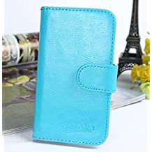 Prevoa ® 丨 ZTE Blade V220 Funda - Flip PU Protictive Funda Case para ZTE Blade V220 5.0 Pulgadas Smartphone - Azul