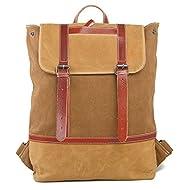 Casual Toile Week-end Voyage Backpack Cartable Sac Backpack Laptop Bag Brun