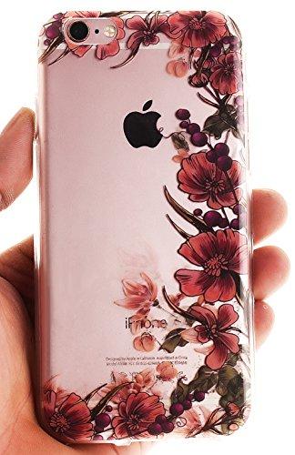 Nnopbeclik Silikon Transparent Hülle Für Apple Iphone 6 / 6S, Ultra Slim Weich TPU Cover Case Neu Design Super Durchsichtig Hohl Luxus Bling Blume Case Etui, Schutzhülle Muster Glänzend Glitzer Strass #30