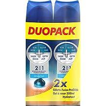Gillette Fusion ProGlide - Gel de Rasage Hydratant 200 ml - Pack de 2