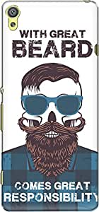 The Racoon Grip printed designer hard back mobile phone case cover for Sony Xperia XA. (Beard Resp)