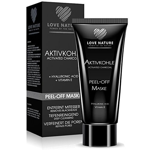 #Love Nature Aktivkohle Peel-Off Maske mit hochkonzentrierter Hyaluronsäure | Blackhead Maske | Anti Mitesser Maske | Gesichtsmaske | Anti Aging Maske | Tiefenreinigend für eine gesunde und jung aussehende Haut#
