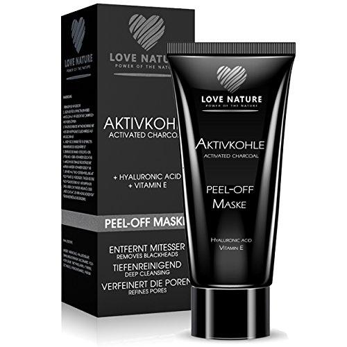 Love Nature Aktivkohle Peel-Off Maske mit hochkonzentrierter Hyaluronsäure | Blackhead Maske | Anti...