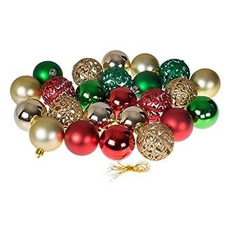 Christmas-Ornaments-Vielzahl-Set-Gold-Grn-Rot-Weihnachten-Decor-Thema-Glitzer-Glanz-und-Spiegel-Kugel-Texturen-bruchfestem-Kunststoff-60-mm-rund-Ornaments-24-Stck
