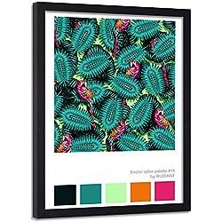 carowall CAROWALL.COM Cuadro con Marco XXL Tropical Arte Moderno Loros Verde 70x100 cm