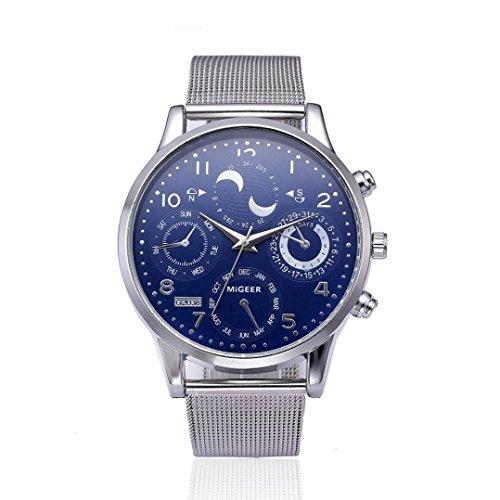 Klassische Damen Herren Armbanduhr Stahlband Quarz Casual Uhren (silver)