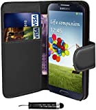 Black Samsung Galaxy S3 Mini i8190 i8200 Book - Quality Premium Pu Leather Flip Wallet Case Cover Pouch + Screen Protector With Microfibre Polishing Cloth + LCD Screen Stylus Pen