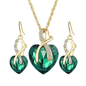 Emorias 1 Set Schmuckset Kristall Herzform Legierung Liebe Edelsteine Ohrringe Halskette Hochzeit Schmuck Accessoires