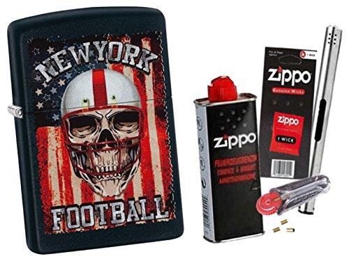 Zippo New York Football mit Zippo Zubehör Auswahl und L.B Chrome Stabfeuerzeug (mit Zubehör A) (Feuerzeug Zippo New York)