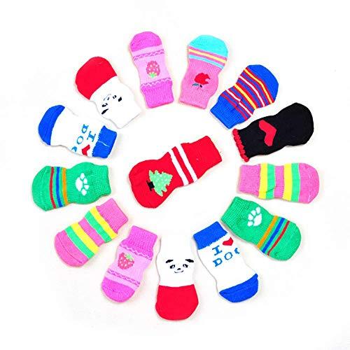 Kostüm Katze Scratch - Sungpunet Haustier-Fuß-Abdeckung Hundesocken Antirutsch Fuß Abdeckung Cat Anti Cotton Welpen Socken M zufällige Farbe 4Pcs Scratch