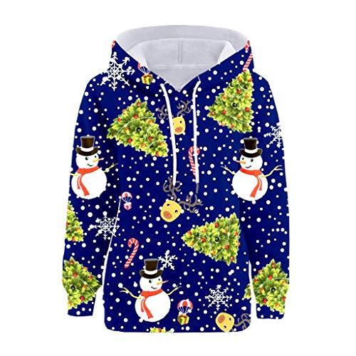GOKOMO Pullover Weihnachten Lady Schneemann Print Pocket