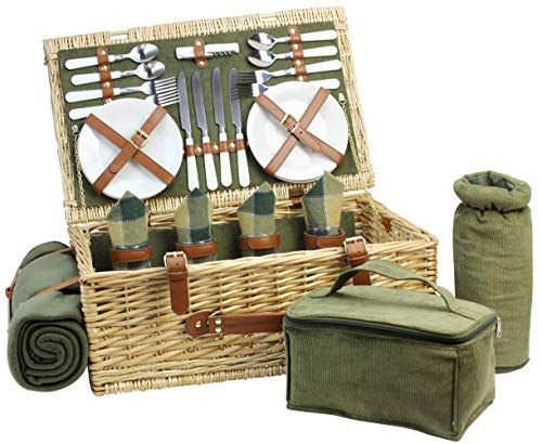 HappyPicnic - Cesta de Mimbre para 4 picnics, Cesta de Almacenamiento de Sauce, Set de Regalo para Camping y Fiestas al Aire Libre, Verde