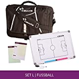Cawila Trainertasche Trainer Briefcase inklusive Zubehör für Fußball, Schwarz, Größe L (Maße: 35 x 50 x 9cm):