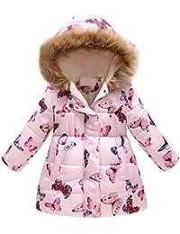 ICNCVKX Winterjacke Baby 56丨 Kleinkind Baby Girl Boy Floral Butterfly Winter warme Jacke mit Kapuze Winddicht Mantel
