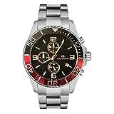 orologio lorenz cronografo 030049gg uomo acciaio rosso e nero sub 100 mt
