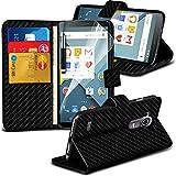 ONX3® ( Black Carbon Fiber Wallet ) LG G4 Case Custom Made Carbon Fiber Book PU-Leder-Mappen-Schlag mit Kredit- / Bankkarte Slot-Kasten-Haut-Abdeckung mit LCD-Display Schutzfolie, Poliertuch und Mini-versenkbaren Stylus Pen