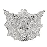 Bonjanvye Shining Skull Shape Clutch Purses and Handbags for Hollaween Party Silver