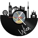 GRAVURZEILE Wanduhr aus Vinyl Schallplattenuhr Skyline Wien Upcycling Design Uhr Wand-Deko Vintage-Uhr Wand-Dekoration Retro-Uhr Made in Germany