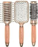 Lily England Lot 3x Brosses à Cheveux Or Rose. Inclus Brosses Ronde, Plate et...