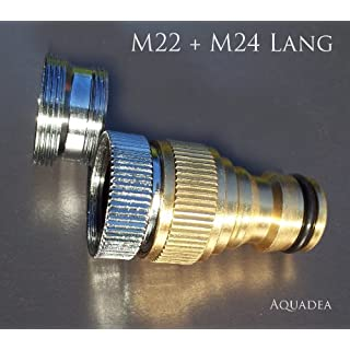 AQGardM22 Threaded Tap Connector with Hose Connector - Gardena like - fit for taps with a M24 internal or M22 male aerator Thread - To fit a hose to an normal tap - brass quality -