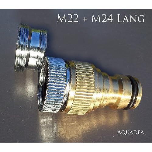 Gardena Kompatibles Steck System 1/2 Zoll IG Mit Adapter M22 IG + M24 AG  Lang, Stabile, Schöne Metall Ausführung Zum Anschluß Eines Gartenschlauchs  An Einen ...