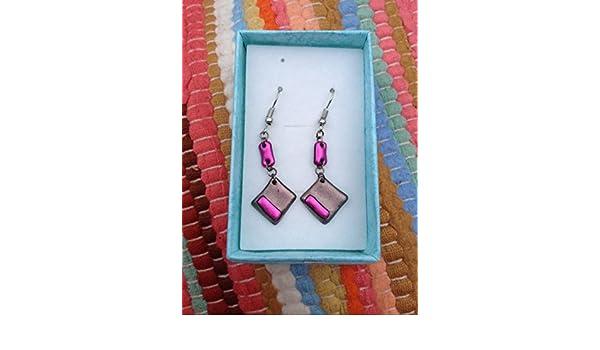 Eccentricity earrings handmade eco-friendly ethical jewellery in orange!