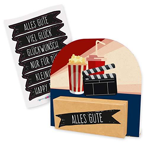 itenga Geldgeschenk oder Gutschein Verpackung Geschenkaufsteller Motiv/Anlass Kino Film Popcorn Kinogutschein mit Stickerbogen aus Karton 12x11,5cm