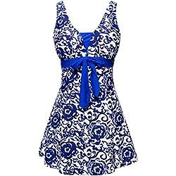 Wantdo 1 pieza para mujer estampado floral con falda - Azul brillante