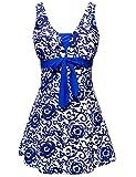 Wantdo Donna Un Pezzo Costume da Bagno Slim Taglia Forte (BluBrillante(9007) 1X(EU46-48))