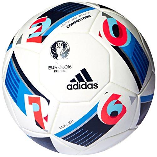 adidas Herren Ball EURO 2016 Kompetition, White/Bright Blue/Night Indigo, 5, AC5418