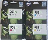HP 953XL Set 4 Cartouches originales: par 1 x noir, cyan, magenta, yellow Remplissage de XL pour hp Officejet Pro 8210 8218 8710 8715 8718 8719 8720 8725 8730 8740
