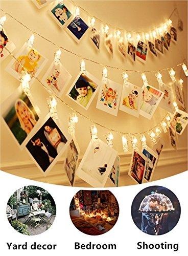 50 LED Foto Clips Lichterketten, 17 ft LED-Clips Licht Warmweiß Batteriebetrieben, Lichterketten für indoor / outdoor hängende Fotos Bilder Karten und Memos, für Schlafzimmer Wohnheim Dekoration