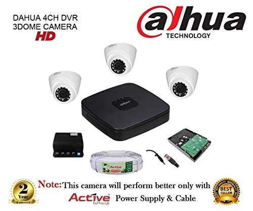 Dahua Dh-hcvr4104c-s3 4ch Hdcvi Dvr 1pcs + Dahua Dh-hac-hdw1100rp-0360b 720p Dome Camera 3pcs + 1tb Hdd + Active Copper Cable + Active Power Supply Full Combo Kit.