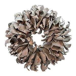 Naturkranz Deko-Kranz groß Ø 25cm in dunkelgrau, gefertigt aus Palmblatt-Früchten. Türkranz zum hängen oder als Tischdekoration im Shabby chic Design, zeitloses Wohnaccessoires als Natur-Deco