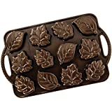 Nordic Ware 92348 Leaflettes Cakelet Pan, 2.5 Cup Capacity, Bronze